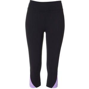 Tuff Athletics Black Capri Purple Waist  Legging